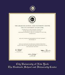 custom diploma frames certificate frames framing success cuny  c u n y graduate school and university center diploma pre 6 10 frame navy blue and gold double mat and gold embossing