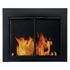 pleasant hearth alpine cabinet fireplace screen and glass doors black