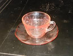 Pink Depression Glass Patterns Magnificent Pink Depression Glass Cup And Saucer American Sweetheart Pattern