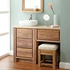 If you have a single sink, then extend the side area and install additional mirror above it. 48 Venica Teak Vessel Sink Vanity With Makeup Area Whitewash Bathroom Vanity Vessel Sink Vanity Bathroom
