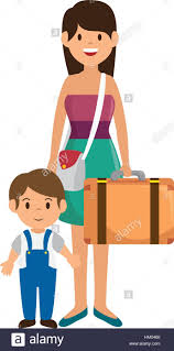 cute family member on vacations vector ilration design