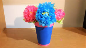Paper Flower Pots Diy Tissue Paper Flowers With Leaves And Flower Pot