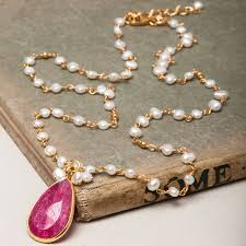 ruby and seed pearl pendant necklace