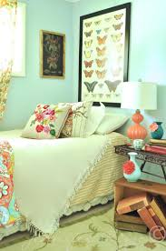 Bedroom, A Modern Bohemian Bedroom With Pastel Green And Cyan Color Decor:  Plenty Boho