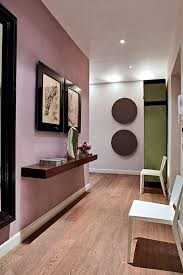 Hallway Painted In Farrow & Ball Cinder Rose, Dimity And Churlish Green