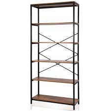 5 tier wooden bookcase book shelves organizer display shelf elst com