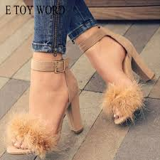 Dress <b>E Toy Word</b> Rabbit Fur <b>Women'S</b> Pumps Sexy High Heel ...