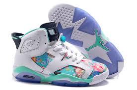 jordan shoes for girls 2014 black and white. 2017 girls air jordan 6 (vi) retro gs white black turquoise flower blossoms shoes for 2014 and o