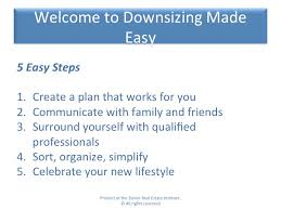secrets to downsizing made easy revealed in senior seminar during the presentation and discussion of the 5 steps to downsizing made easy we covered a variety of topics including questions to consider before making