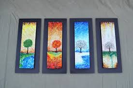 the four seasons fused glass wall art