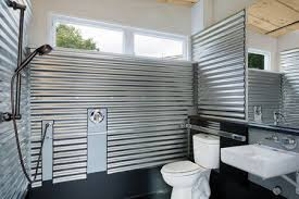 galvanized steel tiny house bathroom