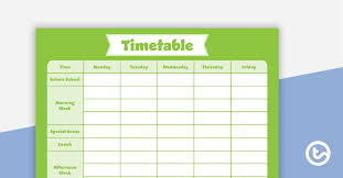 Weekly Timetable Planner Plain Green Timetable Planner Teaching Resource Teach