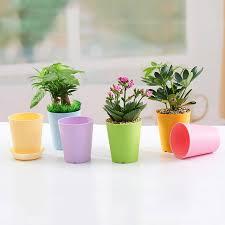 plastic Mini Flower pot doll polish with tray 6pcs 9cm small Succulent  plant pot desktop ornaments