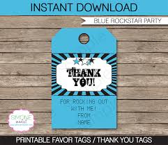 Birthday Tags Template Rockstar Birthday Party Favor Tags Blue Thank You Tags