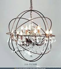 industrial crystal chandelier lighting restoration hardware vintage pendant lamp iron orb rustic