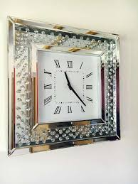 crystal decor square wall clock