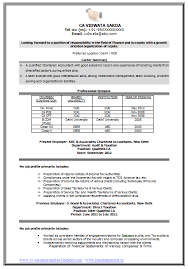 Accounting Resume Format Free Download Best of Sample Template Of An Excellent Experienced Chartered Accountant