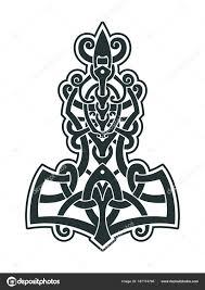Mjollnir Thorovo Kladivo Je Amulet Vikingové Stock Vektor Misima