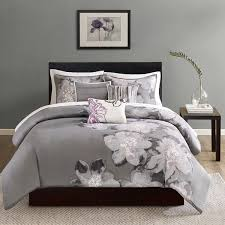 madison park serena down 200 thread count 6 piece printed duvet cover set queen grey