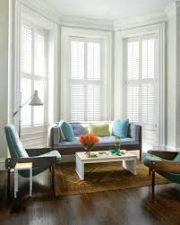 living room with bay window decorating