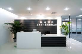 modern office hall front desk glass desktop reception counter