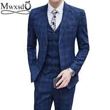 New Suit Design 2019 Man Us 72 11 48 Off Mwxsd Casual Mens Plaid Suits Set Men Tuxedo Formal Wedding Suits 2019 New Brand Design Plaid Blazer Jacket And Business Trouser In