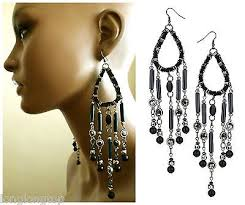 top extra large and long navy bead chandelier statement earrings new