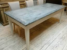 image of zinc top round dining table