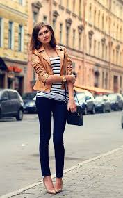 tan leather jacket top with striped shoes unknown fashion blogger
