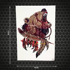 зверь мастер водостойкий временный ревущий медведь боди арт тату