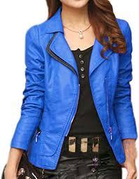 HongHu <b>Women's Long Sleeves Zipper</b> Biker Coat Faux <b>Leather</b> ...
