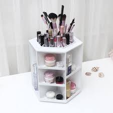 White Makeup Organizer Amazoncom Tabletop Makeup Organizer Large Round 360 Degree
