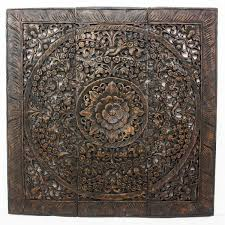 Square Metal Wall Decor Strata Furniture Lotus Square Panel In Recycled Teak Wall Dccor