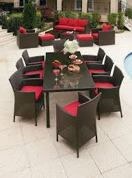 dark brown red rectangle modern wooden patio furniture dining set with table and chairs design