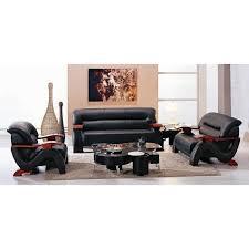 2033 modern black leather sofa set