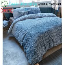 300tc cotton percale lagos blue grey quilt cover set queen king super king