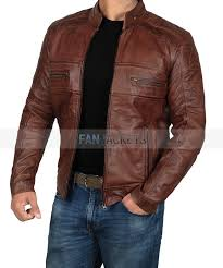 austin mens brown perforated leather jacket