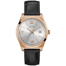guess men s watches buy now from an official uk stockist guess men s silver rose gold watch black crocodile leather strap