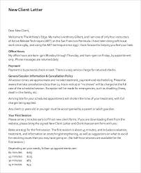 Welcome Letter Template Letter To Clients Magdalene Project Org