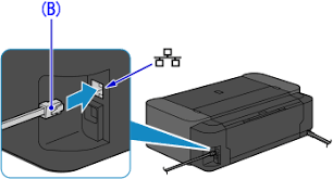 how to connect the printer and router via wired lan connect the printer and a network device router etc an ethernet cable b