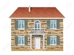 Altes Landhaus Mit Einer Steinmauer Weiße Fenster Und Balkon