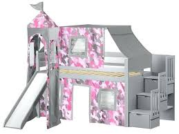 bunk bed with slide and tent. Bed With Slide Princess Twin Low Loft Gray Stairway Pink Tent And A . Bunk