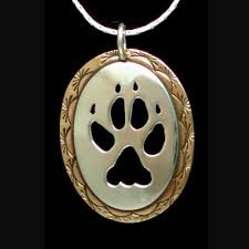 wolf paw necklace silver brass by