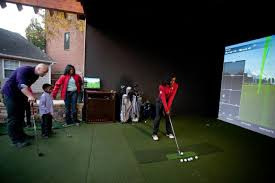 outdoor golf simulator doubles as home theater