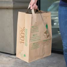 duro brown printed 100 recycled ping bag with handles 12 x 7 x 17 300 bundle