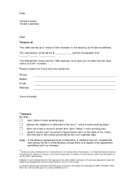 how to write a rent increase notice notice of rent increase forms and templates fillable printable