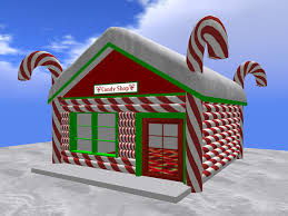Candy Cane House Decorations Second Life Marketplace RE Candy Shop wSnow Roof Christmas 30