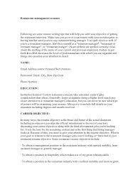 Examples Of Restaurant Resumes Cool Restaurant Management Resumes
