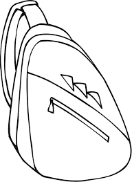 Small Picture worksheet of a backpack with one strap for preschoolers Coloring