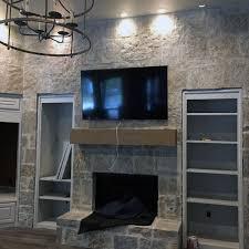 indoor stone fireplace design